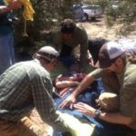 training scenario during wilderness first responder course in flagstaff