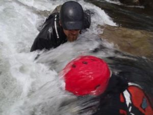 Mike Mather instructing a White water River Rescue Certification