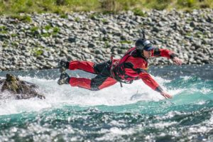 swiftwater entry by Sierra Rescue instructor Zach Byars with Redwood National Park river rescue training